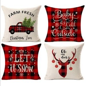 🎀 SET Buffalo Christmas Pillow Covers 🎀NEW